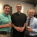 Fr. Jeff Rott with our two speakers, Gerry Cleary and Mike McGee